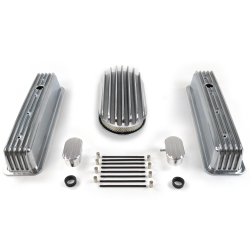 "SBC 15"" Deep Oval/Tall Center Bolt Finned Engine Dress Up kit~w/ Breathers (PCV) - Part Number: VPA7AC73"
