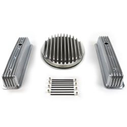 "SBC 14"" Deep Round/Tall Center bolt Finned Engine Dress Up kit~Holes No Breathers - Part Number: VPA7AC79"