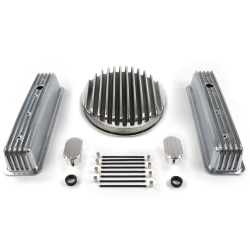 "SBC 14"" Deep Round/Tall Center Bolt Engine Dress Up kit~w/ Breathers (No PCV) - Part Number: VPA7AC7E"