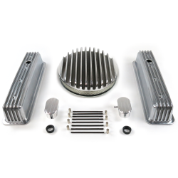 "SBC 14"" Deep Round/Tall Center Bolt Finned Engine Dress Up kit~w/ Breathers (PCV) - Part Number: VPA7AC83"