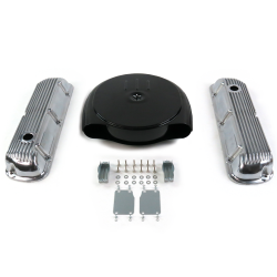 SBF Blk Caddy AC/Finned Engine Dress Up kit~Holes No Breathers 289-351 - Part Number: VPA7AC98
