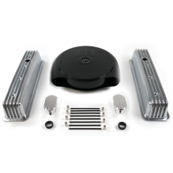 SBC Blk Caddy AC/Tall Center Bolt Engine Dress Up kit~w/ Breathers (No PCV) - Part Number: VPA7AC9C