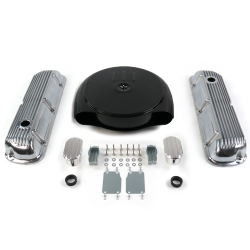 SBF Blk Caddy AC/Finned Engine Dress Up kit~w/ Breathers (No PCV) 289-351 - Part Number: VPA7AC9D