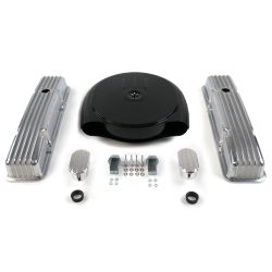 SBC Blk Caddy AC/Short Finned Engine Dress Up kit~w/ Breathers (No PCV) - Part Number: VPA7AC9F
