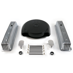 SBC Blk Caddy AC/Tall Center Bolt Finned Engine Dress Up kit~w/ Breathers (PCV) - Part Number: VPA7ACA1