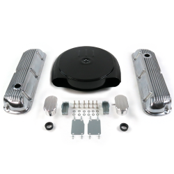 SBF Blk Caddy AC/Finned Engine Dress Up kit~w/ Breathers (PCV) 289-351 - Part Number: VPA7ACA2