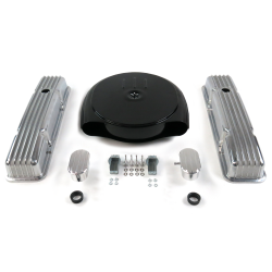 SBC Blk Caddy AC/Short Finned Engine Dress Up kit~w/ Breathers (PCV) - Part Number: VPA7ACA4
