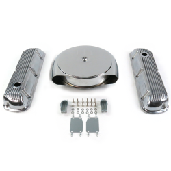 SBF Chr Caddy AC/Finned Engine Dress Up kit~Holes No Breathers 289-351 - Part Number: VPA7ACA8