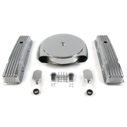 SBC Chr Caddy AC/Tall Finned Engine Dress Up kit~w/ Breathers (No PCV) - Part Number: VPA7ACAB