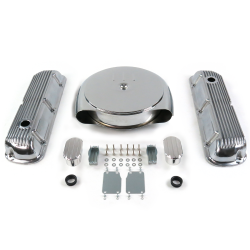 SBF Chr Caddy AC/Finned Engine Dress Up kit~w/ Breathers (No PCV) 289-351 - Part Number: VPA7ACAD
