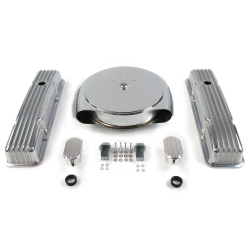 SBC Chr Caddy AC/Short Finned Engine Dress Up kit~w/ Breathers (No PCV) - Part Number: VPA7ACAF