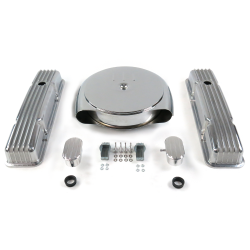 SBC Chr Caddy AC/Tall Finned Engine Dress Up kit~w/ Breathers (PCV) - Part Number: VPA7ACB0