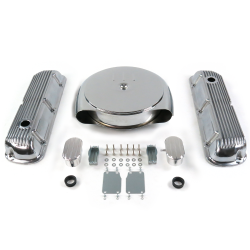 SBF Chr Caddy AC/Finned Engine Dress Up kit~w/ Breathers (PCV) 289-351 - Part Number: VPA7ACB2