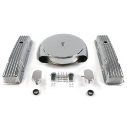 SBC Chr Caddy AC/Short Finned Engine Dress Up Kit With Breathers (PCV) - Part Number: VPA7ACB4