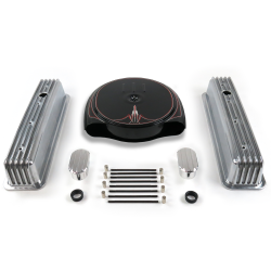 SBC PS Caddy AC/Tall Center Bolt Engine Dress Up kit~w/ Breathers (No PCV) - Part Number: VPA7ACBC