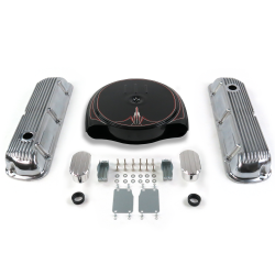 SBF PS Caddy AC/Finned Engine Dress Up kit~w/ Breathers (No PCV) 289-351 - Part Number: VPA7ACBD