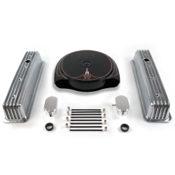 SBC PS Caddy AC/Tall Center Bolt Finned Engine Dress Up kit~w/ Breathers (PCV) - Part Number: VPA7ACC1