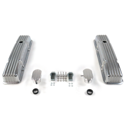 Vintage Short Finned Valve Covers w/ Breathers (PCV) Small Block Chevy - Part Number: VPA7AC0F