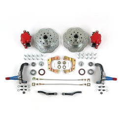 Mustang II 11in HP Big Brake Conversion Stock Spindles 5x4.75 Red Calipers - Part Number: HEX7ABFB