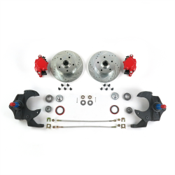 "67-69 Camaro / Firebird and 68-74 Nova 2"" Drop Brake Conversion~Red Calipers - Part Number: HEX7ABFF"