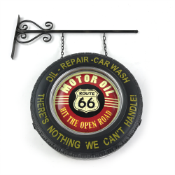 Route 66 Double Sided Light Up Hanging Tire Metal Sign - Part Number: VPAMTSIGN01