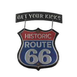 Get Your Kicks Hanging Route 66 Metal Sign - Part Number: VPAMSIGN03