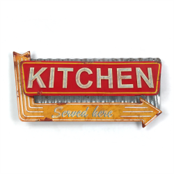 Kitchen Layered Metal Wall Sign - Part Number: VPAMSIGN06