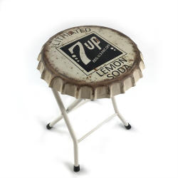 Folding 7up Soda Bottle Cap Stool or Side Table - Part Number: VPABCSTOOL03