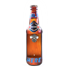 Beer Bottle Metal Wall Sign with Opener and Cap Catch - Part Number: VPABBOPEN01