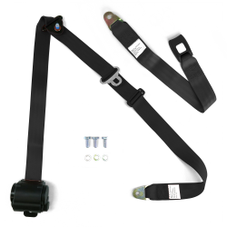 "3pt Retractable Black 166"" Safety Seat Belt Standard Push Button Bench - Each - Part Number: STBSB3RSBKT"
