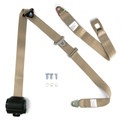 "3pt Retractable Tan 166"" Safety Seat Belt Standard Push Button Bench - Each - Part Number: STBSB3RSTNT"