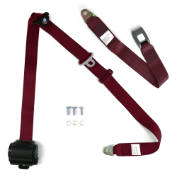 "3pt Retractable Burgundy 166"" Safety Seat Belt Standard Push Button Bench -Each - Part Number: STBSB3RSBGT"