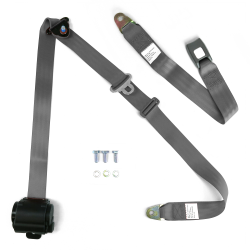 "3pt Retractable Grey 166"" Safety Seat Belt Standard Push Button Bench - Each - Part Number: STBSB3RSGRT"