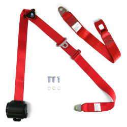 "3pt Retractable Red 166"" Safety Seat Belt Standard Push Button Bench - Each - Part Number: STBSB3RSRDT"
