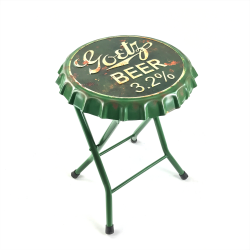 Folding Goetz Beer Bottle Cap Stool or Side Table - Part Number: VPABCSTOOL02