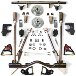 "55-57 Chevrolet 2"" Drop Brake Kit with Tubular Arms, Rear 4-Link & Shocks - Part Number: HEXCABK5557STTK"
