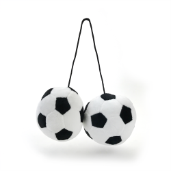Fuzzy Hanging Rearview Mirror Soccer Balls - Pair - Part Number: VPAFB003