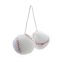 Fuzzy Hanging Rearview Mirror Baseballs - Pair - Part Number: VPAFB005