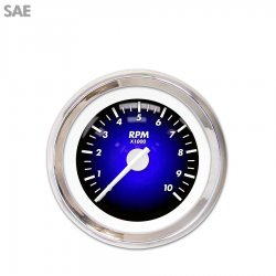 Tachometer Gauge - Pulsar Blue, White Modern Needles, Chrome Trim Rings ~ Style Kit Installed - Part Number: GAR1101ZEXIABCD