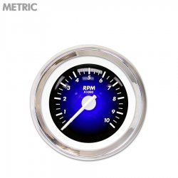 Tachometer Gauge - Pulsar Blue, White Modern Needles, Chrome Trim Rings ~ Style Kit Installed - Part Number: GAR1101ZMXIABCD