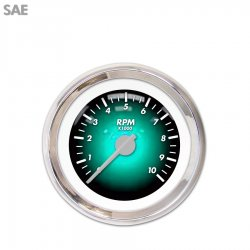 Tachometer Gauge - Pulsar Aqua, Silver Modern Needles, Chrome Trim Rings ~ Style Kit Installed - Part Number: GAR1103ZEXIABCB