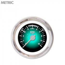 Tachometer Gauge - Pulsar Aqua, Silver Modern Needles, Chrome Trim Rings ~ Style Kit Installed - Part Number: GAR1103ZMXIABCB