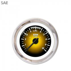 Tachometer Gauge - Pulsar Amber, Black Modern Needles, Chrome Trim Rings ~ Style Kit Installed - Part Number: GAR1104ZEXIABCC