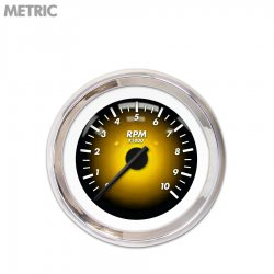 Tachometer Gauge - Pulsar Amber, Black Modern Needles, Chrome Trim Rings ~ Style Kit Installed - Part Number: GAR1104ZMXIABCC