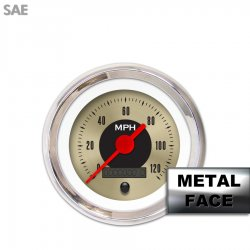 Speedometer Gauge -  SAE American Classic Gold IIII, Red Vintage Needles, Chrome Trim Rings ~ Style Kit Installed - Part Number: GAR1126ZEXHABAE