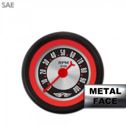 Tachometer Gauge with emblem - American Retro Rodder Red Ring VI, Red Classic Needles, Black Trim Rings ~ Style Kit Installed - Part Number: GAR1132ZEAIACBE