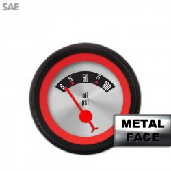Oil Pressure Gauge -  SAE American Retro Rodder Red Ring VI, Red Classic Needles, Black Trim Rings ~ Style Kit Installed - Part Number: GAR1132ZEXJACBE