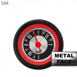 Turbo Gauge -  SAE American Retro Rodder Red Ring VI, Red Classic Needles, Black Trim Rings ~ Style Kit Installed - Part Number: GAR1132ZEXMACBE