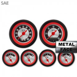 6 Gauge Set with emblem -  SAE American Retro Rodder Red Ring II, Red Vintage Needles, Black Trim Rings ~ Style Kit Installed - Part Number: GAR1133ZEARACAE
