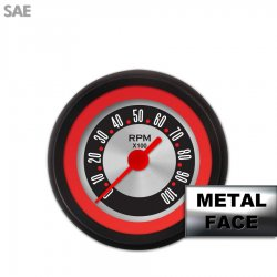 Tachometer Gauge - American Retro Rodder Red Ring II, Red Vintage Needles, Black Trim Rings ~ Style Kit Installed - Part Number: GAR1133ZEXIACAE